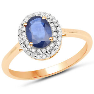 Wedding-Bridal-Ring-1-18ct-Genuine-Blue-Sapphire-amp-Diamond-in-14K-Yellow-Gold