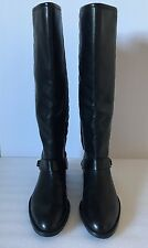 Stuart Weitzman 'Raceway' Black Leather Quilted Shaft Riding Boots Size 7