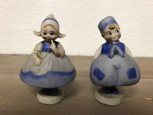 Couple-de-Porte-Menu-Carte-Porcelaine-Personnage-Ancien-1930