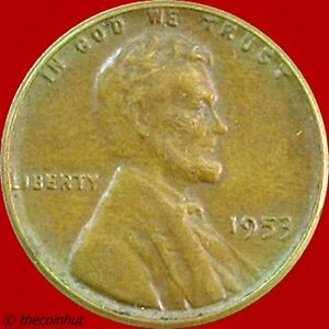 1953-P-Copper-Lincoln-Wheat-Penny-Cent-Coin-US-Mint-Coins-Coinhut5045