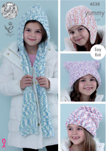 Easy Knit Hooded Scarf /& Hats Girls Knitting Pattern King Cole Yummy Chunky 4538