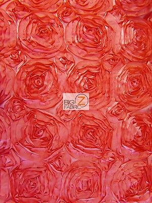 """ROSETTE STYLE TAFFETA FABRIC - Coral - 52"""" WIDTH BY THE YARD WEDDING GOWN DRESS"""