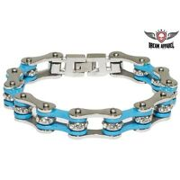 Blue Stainless Steel Chain Bracelet With Gemstones - Free Shipping