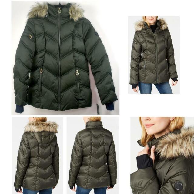 Nautica Womens Faux Fur Trim Hooded, Faux Fur Coat Hood Trim