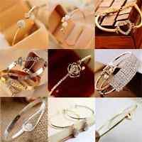 Women Fashion Gold Silver Rhinestone Crystal Bangle Cuff Bracelet Jewelry Gift