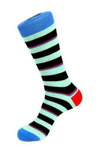 UNSIMPLY STITCHED Men's Light Blue Striped Combed Cotton Socks Men's 8-12 $12