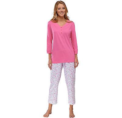 SCHIESSER Damen Pyjama 7//8 lang Schlafanzug 100/% CO 38 40 42 44 46 48 50 M-5XL