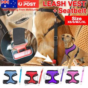 Adjustable Dog Harness Soft Mesh Padded Leash Vest + adjustable seatbelt XS-XL