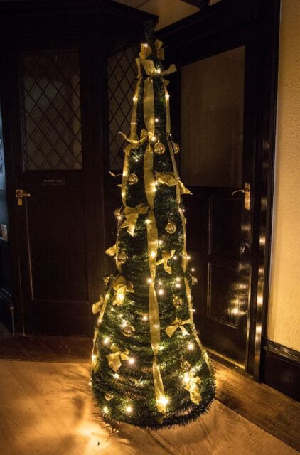 Prelit Green 150cm Decorated Pop Up Christmas Tree With 100 Battery Leds