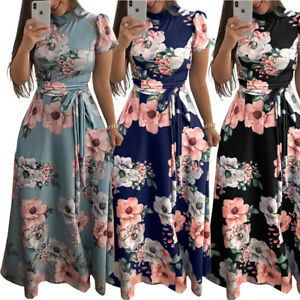Women-039-s-Summer-Boho-Floral-Short-Sleeve-Long-Maxi-Dress-Party-Beach-Sundress-New