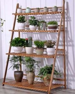 Bamboo Wooden Shelf Plant Stand Folding