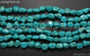 Blue-Howlite-Turquoise-Gemstone-12mm-Freeformed-Nugget-Spacer-Loose-Beads-16-039-039
