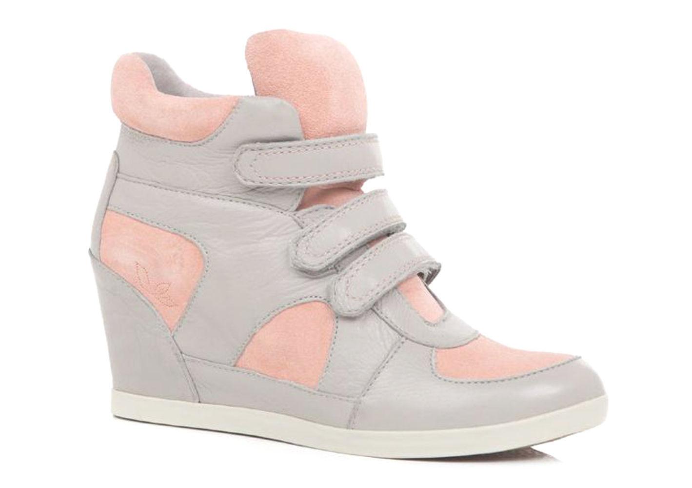 219 New Koolaburra  Preston II Luna Stone Leather Sneaker Wedge Boots sz US 6M
