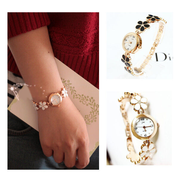 Fashion Daisies Flower Rose Gold Bracelet Wrist Watch Women Girl Decoration