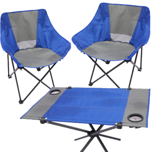 FOLDING OUTDOOR CAMPING BEACH CHAIR SET FOLDABLE TABLE WITH CUP HOLDER