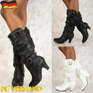 Damen Knie hoch Flache Stiefel Booties Schlupfstiefel Leder Optik Schuhe