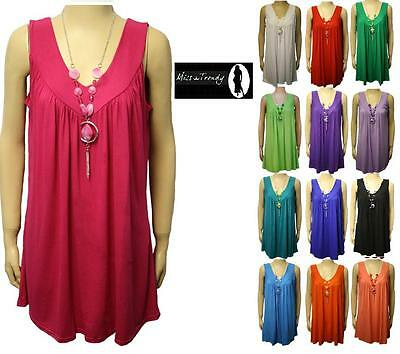 Womens Plus Size Flared Necklace Gypsy Ladies Tunic Sleeveless Long V Neck Tops