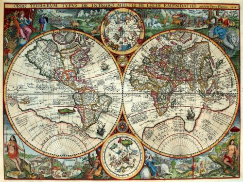 ART PRINT POSTER MAP OLD GLOBE HEMISPHERE ORNATE DECORATIVE NOFL0681