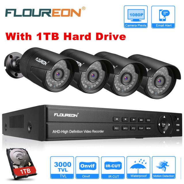 1080P HDMI 8CH AHD DVR 3000TVL Outdoor CCTV HD Security Camera System 1TB HDD