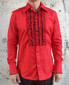 Mens retro red ruffle frill tuxedo dress shirt dinner for Red ruffled tuxedo shirt