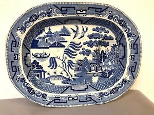 Very-Large-Staffordshire-Blue-Willow-Meat-Platter-Circa-1830