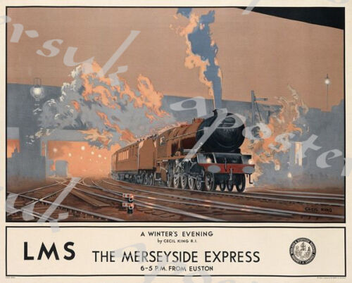 Vintage LMS Mersey Express London Liverpool Railway Poster A3//A4 Print