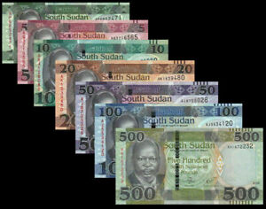 SOUTH-SUDAN-FULL-SET-7-PCS-1-5-10-20-50-100-500-POUNDS-2011-2018-NEW-UNC