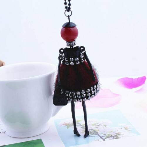 Women Sweater Necklace Crystal Rhinestone Doll Beads Pendant Jewelry Findings