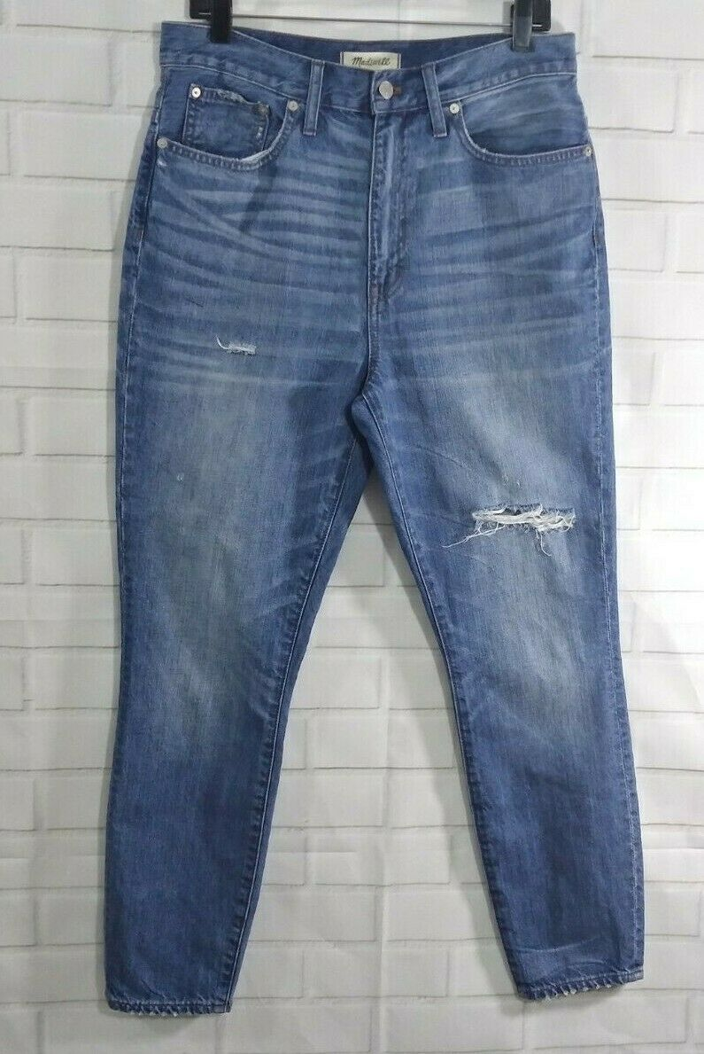 Madewell Jeans Size 30 Rigid Skinny High Rise Distressed Destroyed Denim bluee