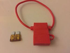 (2) 10 GAUGE MEDIUM FUSE HOLDER With COVER 2 40 AMP FUSES IN-LINE 10 GA. USA
