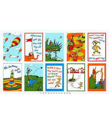 Dr Seuss Oh The Places You Will  Go  cotton fabric  by Robert Kaufman fabrics