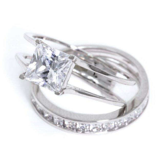 2 Ct Princess Cut Piece Solid 14k White Gold Engagement Wedding Ring Band Set