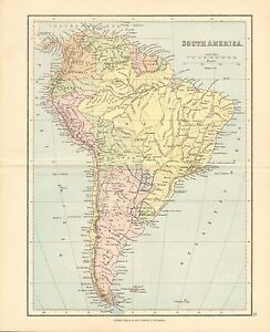 Map Of America Ebay.Details About 1887 Antique Map South America