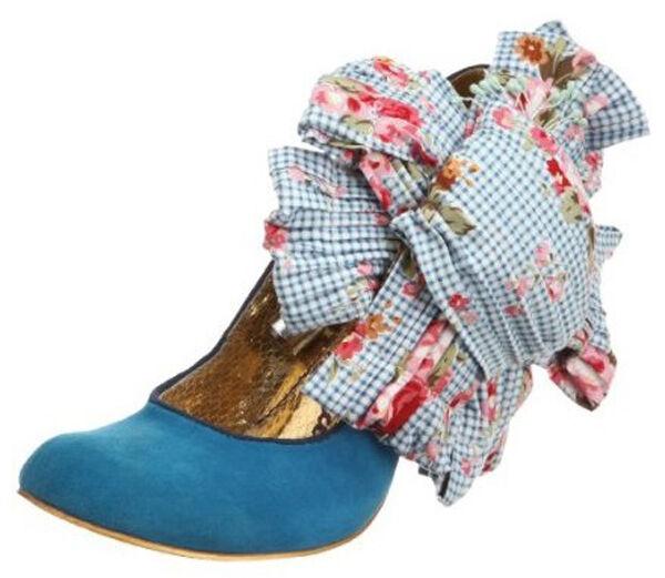 IRREGULAR CHOICE BURGER & 6.5 FRIES Blau Schuhe 6 6.5 & PUMPS BIG FABRIC FLOWER NIB 0a32c4