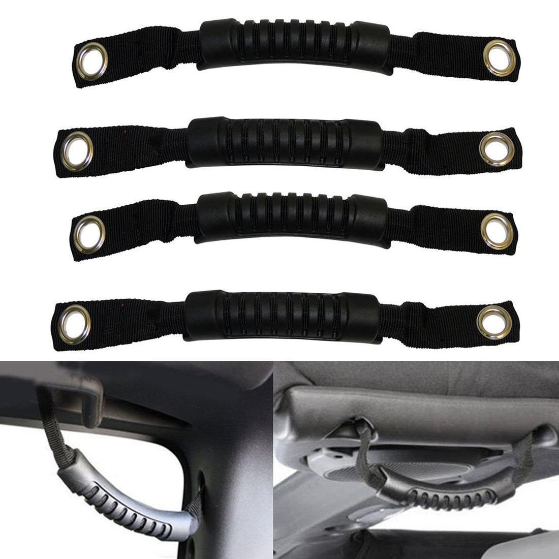Extreme Off-Road 4pcs Black Rear Side Grab Handle for 07-17 Jeep Wrangler JK
