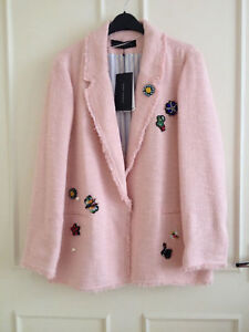 Small SIZE TWEED ZARA WITH JACKET eBay 2498723 PINK TEXTURED PATCHES w6Y0F