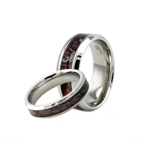 Stainless Steel Men & Women's Match Couple Camo Wedding Engagement Ring Set
