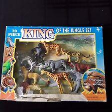 Vintage Plastic Toy Safari Animals Lot 10 Piece Moving Heads & Limbs Jungle Set