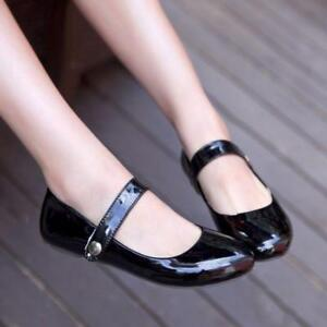 Womens Patent Leather Cross Ankle Strap Shoes Round toe Ballet Flats Mary Janes