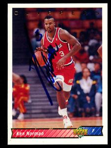 Ken Norman #295 signed autograph auto 1992-93 Upper Deck Basketball Trading Card