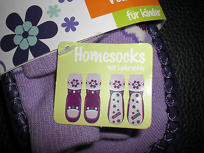 Homesocks gr. 32/33 Neu Mädchen Hausschuhe mit Ledersohle