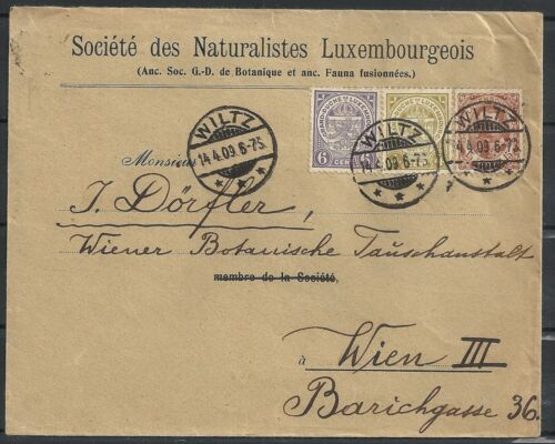 Luxembourg 1909 mixed franked cover WILTZ to Vienna