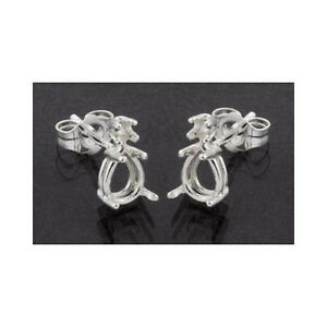 ( 7x5mm - 10x7mm ) Pear Shape Accented Sterling Silver Cast Earring Settings