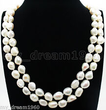 "NATURAL GENUINE 10-11MM WHITE BAROQUE PEARL NECKLACE JEWELRY 65"" LONG"
