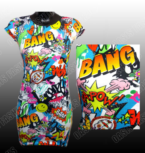 Girls Midi Bodycon Dress Floral Pink//White Love Neon Comic Book Ages 2-13 Year