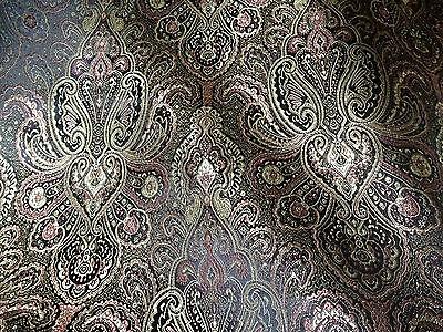 Sublime tissu SATIN JACQUARD indien noir marron et doré 90cm de large AU METRE !