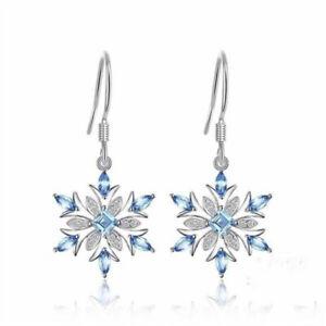Elegant-925-Silver-Aquamarine-Snowflake-Earrings-Womens-Christmas-Jewelry-Gifts