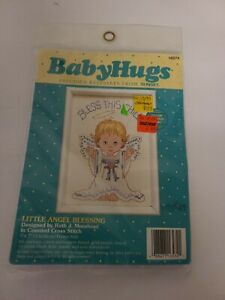 Vintage-NOS-16574-Baby-Hugs-Cross-Stitch-Kit-Little-Angel-Blessing-5-034-x-7-034-NEW