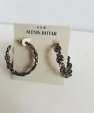 Alexis Bittar black tone  Miss Havisham Oscillating Crystal Hoop Earrings