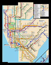 Framed Print - New York City Subway Map (Picture Poster Modern Art Underground)